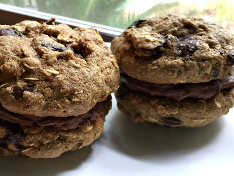 Jumbo Chocolate Chip Oatmeal Cookie Sandwiches with ...