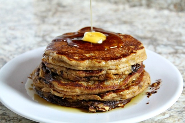 Cinnamon Chocolate Chip Buttermilk Oatmeal Pancakes-KintheKitchen