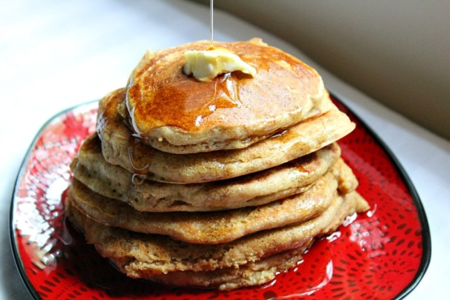 Fluffy Whole Wheat Buttermilk Pancakes -KintheKitchen
