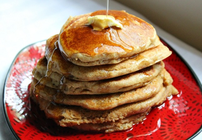 Fluffy Whole Wheat Buttermilk Pancakes- KintheKitchen