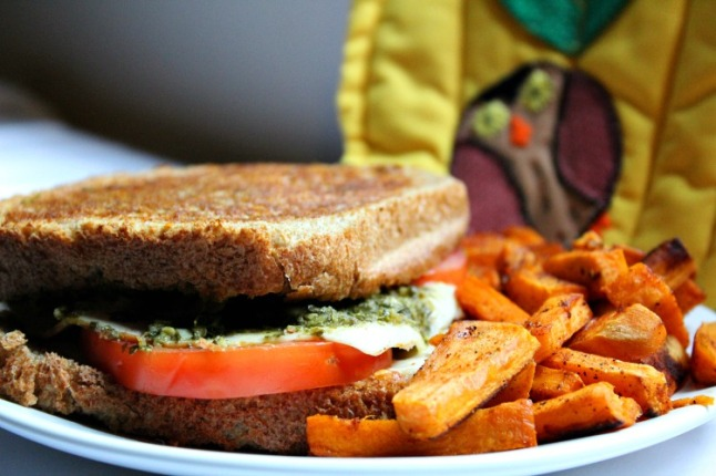Pesto Grilled Cheese with Turkey and Havarti- KintheKitchen