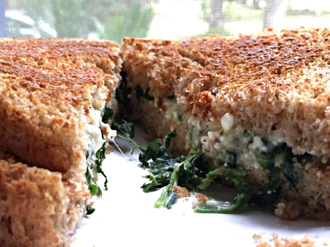 Three-Cheese and Spinach Grilled Cheese -KintheKitchen