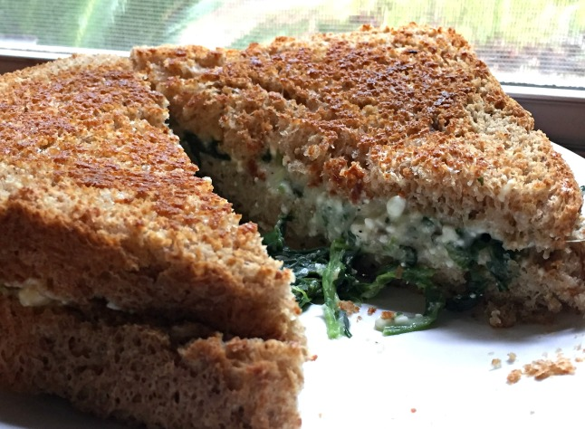 Three-Cheese and Spinach Grilled Cheese- KintheKitchen