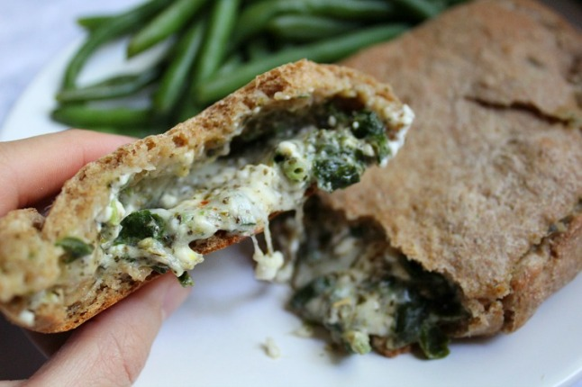 Whole Wheat Spinach & Pepperoni Calzones -KintheKitchen - Copy