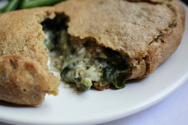 Whole Wheat Spinach & Pepperoni Calzones-KintheKitchen - Copy