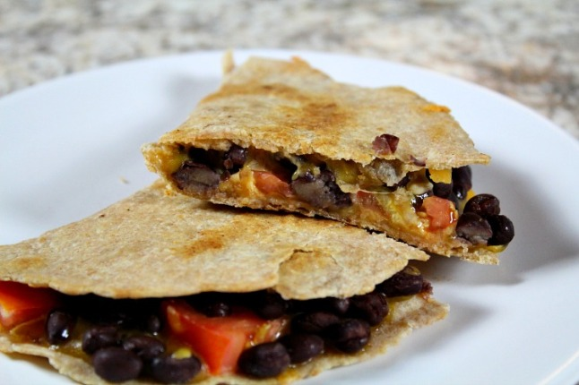 Easy Cheddar Black Bean Quesadillas -KintheKitchen