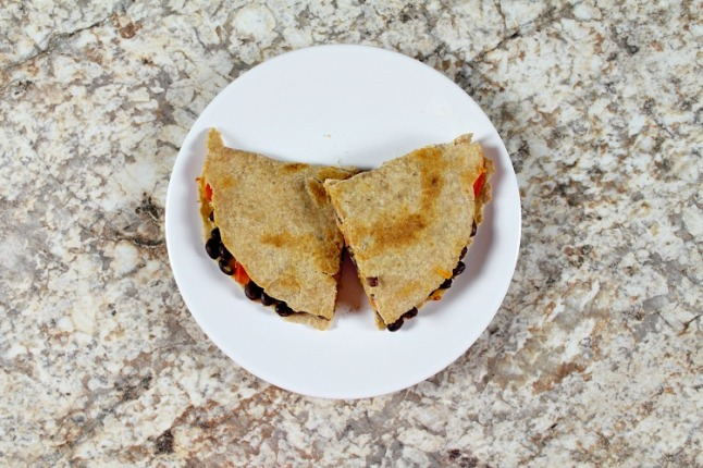 Easy Cheddar Black Bean Quesadillas--KintheKitchen
