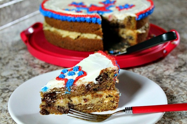 Epic Double Decker ChocolateChip Cookie Cake(with Cookie Dough Filling) KintheKitchen