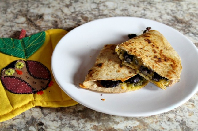 Pesto Cheddar Black Bean Quesadillas KintheKitchen