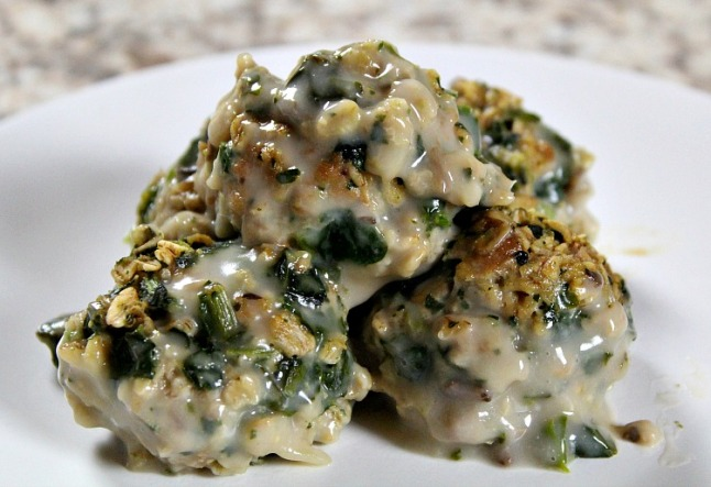 Turkey Spinach Mushroom Meatballs -KintheKitchen