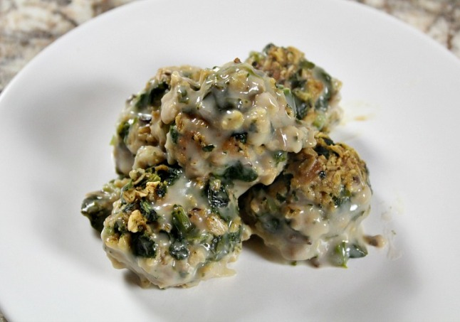 Turkey Spinach Mushroom Meatballs--KintheKitchen