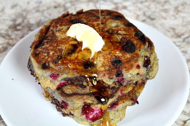 Raspberry Chocolate Chip Pancakes--KintheKitchen