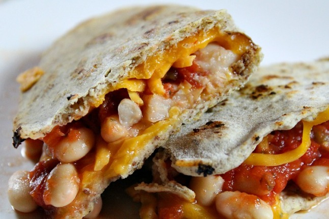 White Bean & Salsa Quesadillas -KintheKitchen
