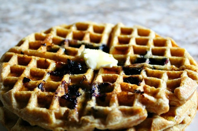Whole Wheat Blueberry Waffles -- KintheKitchen-