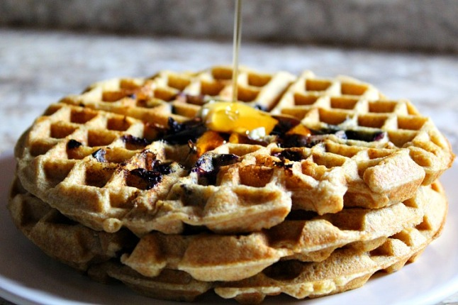 Whole Wheat Blueberry Waffles KintheKitchen
